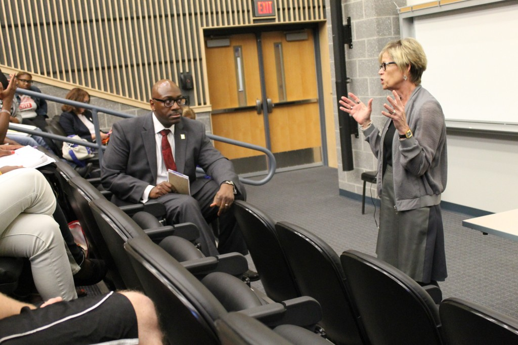 Keneth Long, VP of Financing, and President Welsh speak at the Student Forum. Photo Credit / Brook Wadle