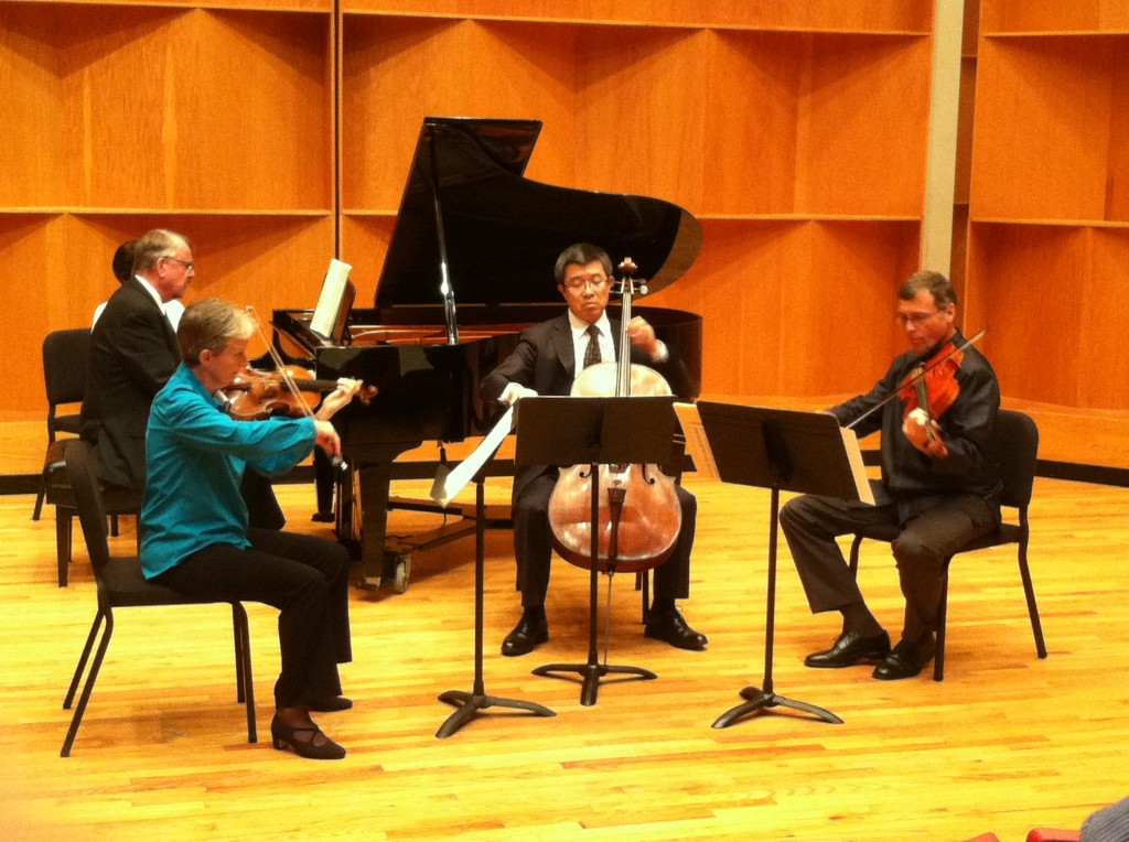 Robert Miller on piano, Fiona Simon on violin, Qiang Tu on violoncello, and Peter Kenote on viola on October 6, 2013. Photo Credit / Rebecca Jasulevicz