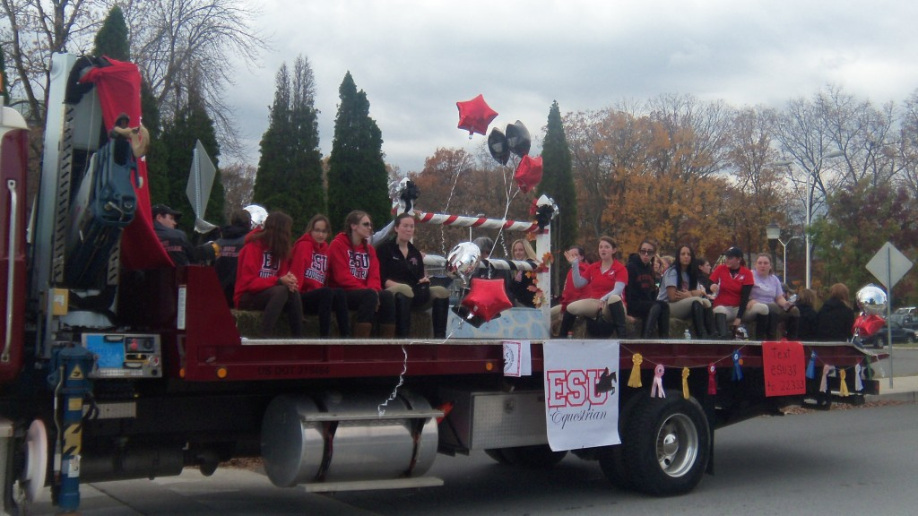 ESU's Equestrian team participating in the Homecoming Parade. Photo Credit / Jenny Bront