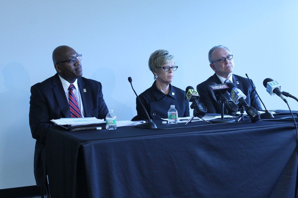 VP of Financing, Ken Long, President Marcia Welsh, and Provost Van Reidhead at a press conference. Photo Credit / Valentina Caval