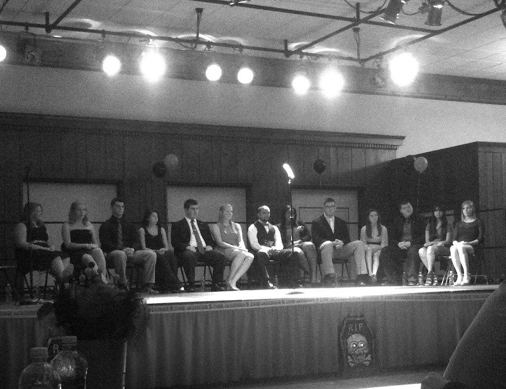 2013 Homecoming candidates on stage at the Homecoming Pageant on October 29, 2013.  Photo Credit / Samantha Schilling