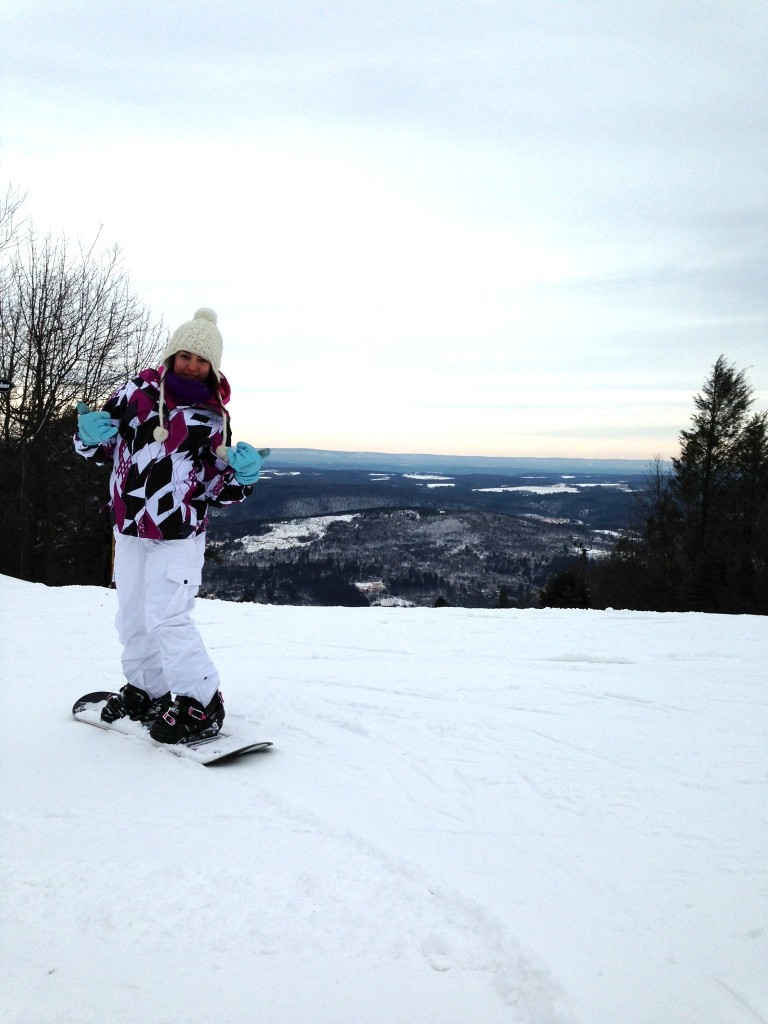 ESU Senior Audra Organetti snowboarding atop Camelback Mountain in Tannersville. Photo Courtesty of Audra Organetti
