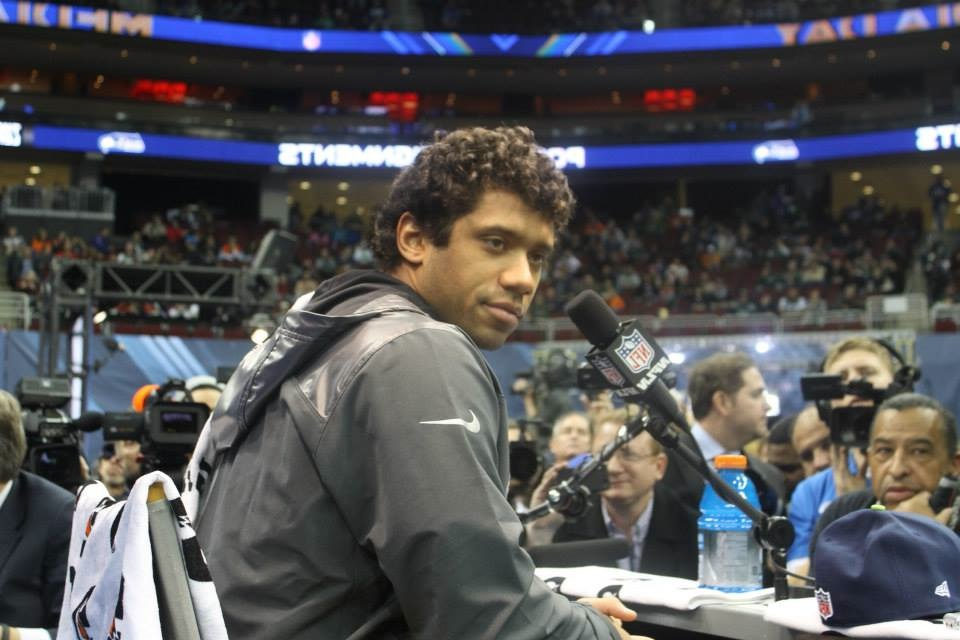 Seahawks Quarterback, Russell Wilson at Tuesday's Media Day. Photo Credit / Valentina Caval