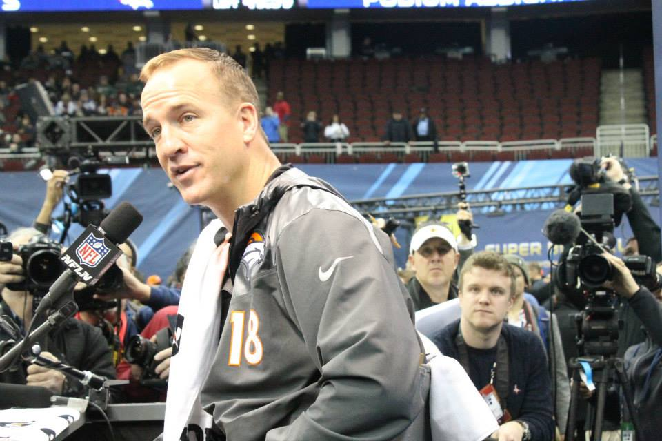 Broncos Quarterback, Peyton Manning, at Thursday's Media Day. Photo Credit / Valentina Caval