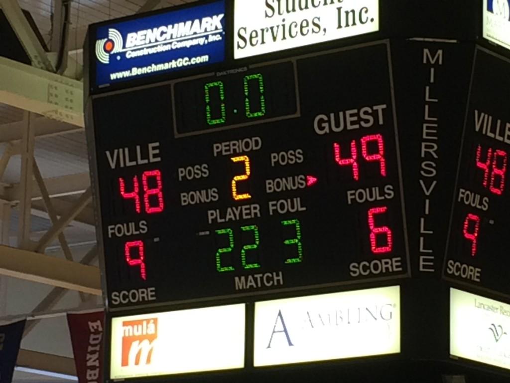 The scoreboard says it all--ESU defeats Millersville 49-48.  Photo Credit / Ronald Hanaki