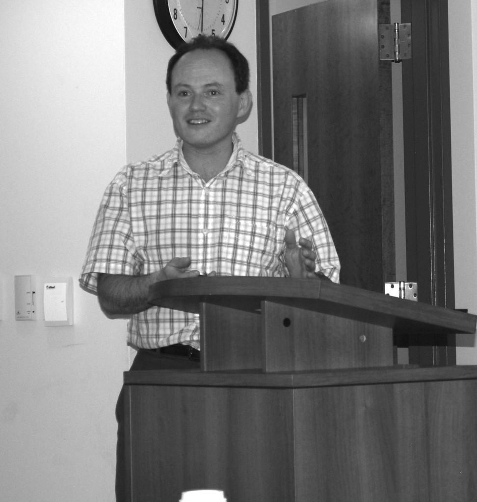 "Mathmatics Professor Dr. Galperin presented  ""College algebra or Economics of being green.""Photo Credit / Ronald Hanaki"