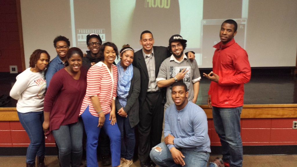 ESU students pose with Amil Cook. Photo Credit / Jenny Bront