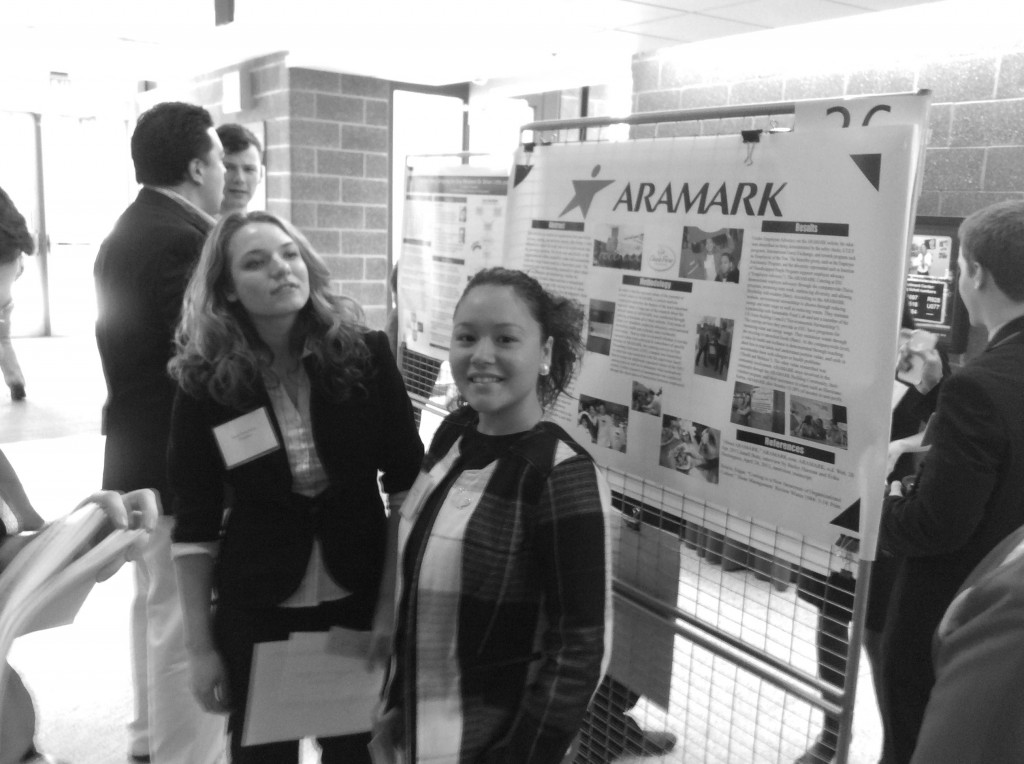 Erika Dominguez presented group research on ARAMARK. Photo Courtesy of Patricia Kennedy