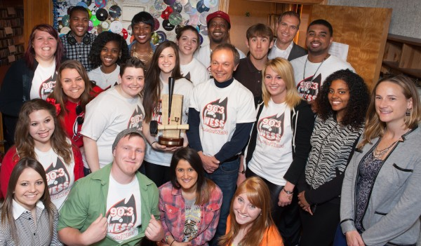 WESS radio station staff were presented their MTV Woodie Award on April 25. Photo Credit / Susan Forrester