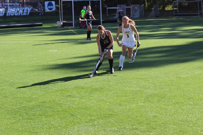 Sophomore forward/midfielder Emily Howell sends the ball upfield during Tuesday's loss to LIU Post Photo Credit / Jamie Reese