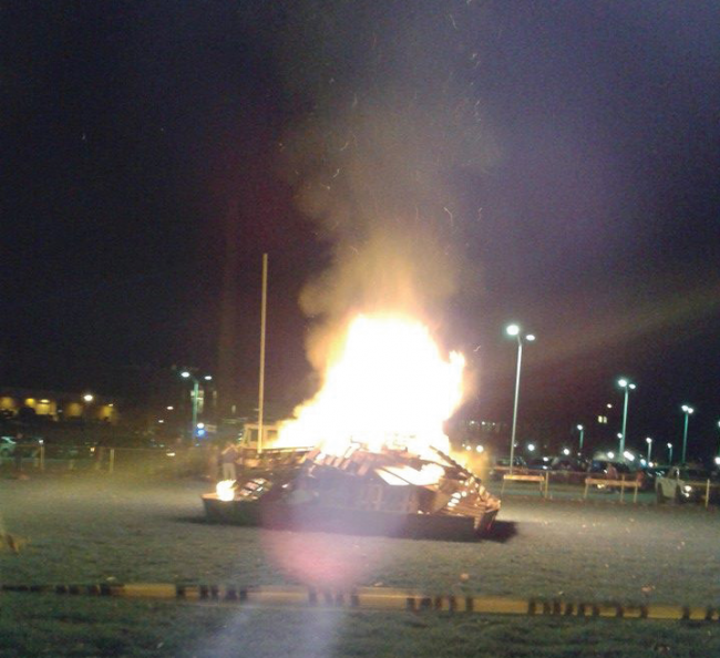 The ESU Bonfire held behind Dansbury Commons on Friday. Photo Credit / Alyssa Ellis