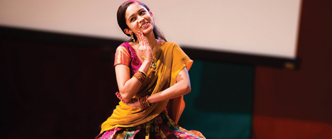A dancer during the Diwali Festival of Lights. Photo Courtesy / Office of University Relations