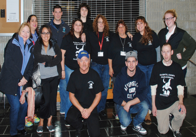 Ghost Fest attendees with Dusk-Till-Dawn Paranormal Investigators. Photo Credit / Amanda Schreck