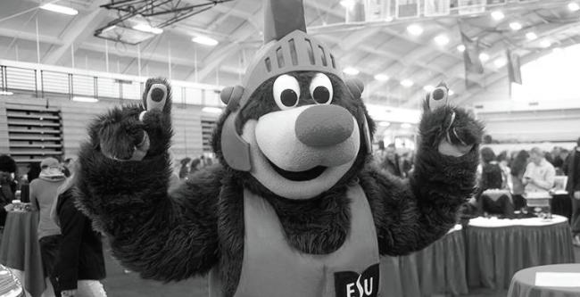 Burgy the Bear showing ESU pride. Photo Credit / ESU Facebook