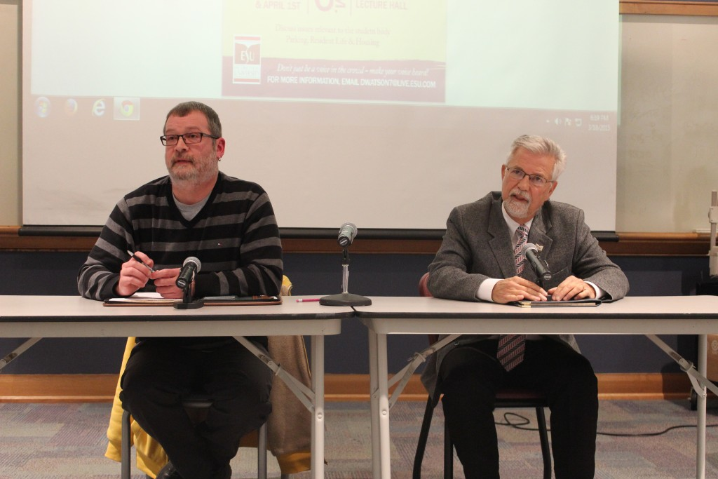 Dave Campbell and Robert Moses address students' questions and concerns. Photo Credit / Jamie Reese