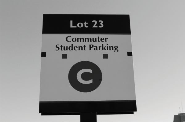 One of the many parking lots on campus that commuter students may use. Photo Credit / Amy Lukac