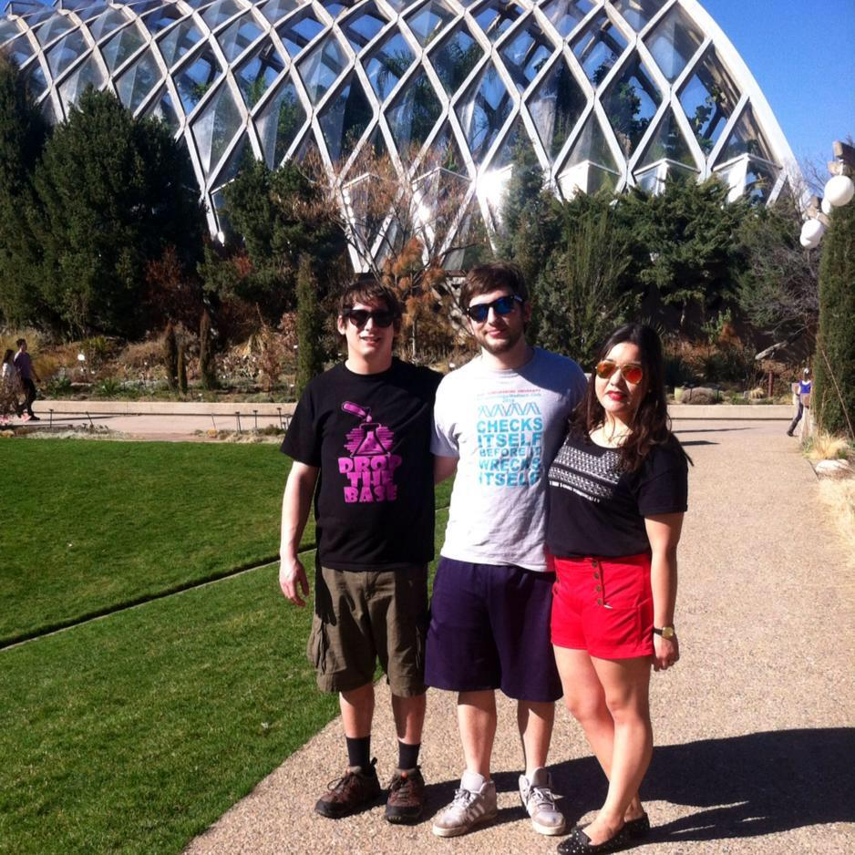 Eric Rosa, Bruno Benassini, and Estefania Fematt in front of the Denver Botanic Gardens. Photo Courtesy / Estefania Fematt