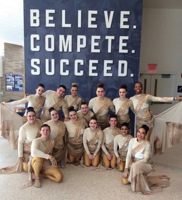 The Color Guard team poses for a photo at the Winter Guard International. Photo Courtesy / Nellie Youn