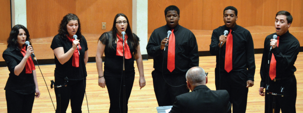 The University Singers performed with the University/Community Jazz Ensemble on April 26. Photo Credit / Crystal Smith