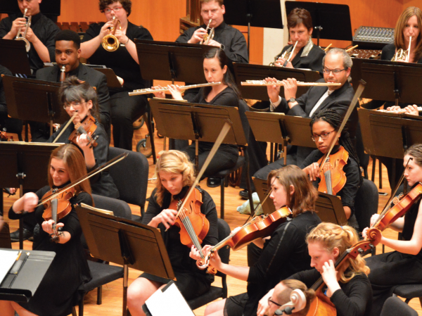 The University / Community Orchestra on April 22 in the Cecilia S. Cohen Recital Hall. Photo Credit / Crystal Smith