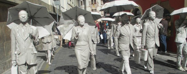 One of the performance exhibits in the streets of Prague. Photo Credit / Madison Petro