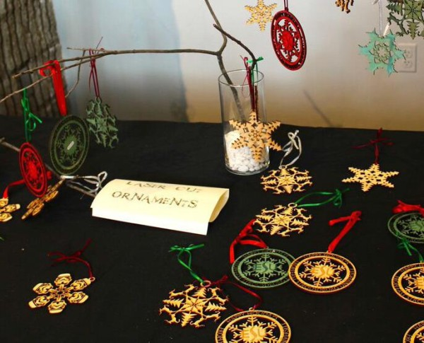 Festive Laser Cut Ornaments on display at the Holiday Craft Market. Photo Credit / Erika Pokrivsak