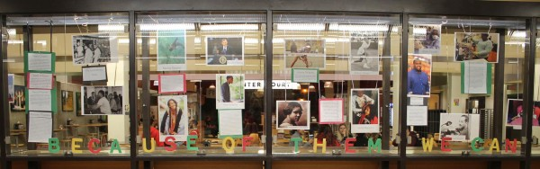 """""""Because of them we can"""" display in the University Center for African American Heritage Month. Photo Credit / Lauren Shook"""