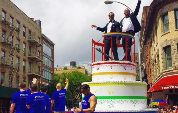 Two men celebrating marriage equality at the NYC Price Parade. Photo Credit / Amy Lukac