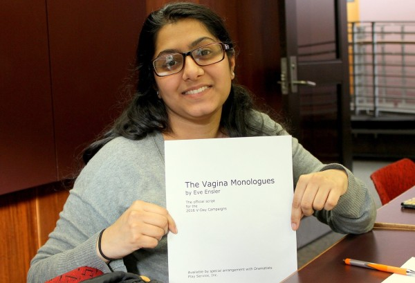 """Sofia Mirza presenting the official transcript for """"The Vagina Monologues."""" Photo Credit / Mitch Williams"""