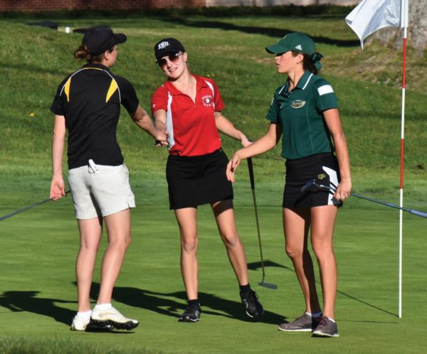 Miller (center) congratulates Millersville's Wharton (left) and Pohalski (right) after completing the first round. Photo Credit / Ronald Hanaki
