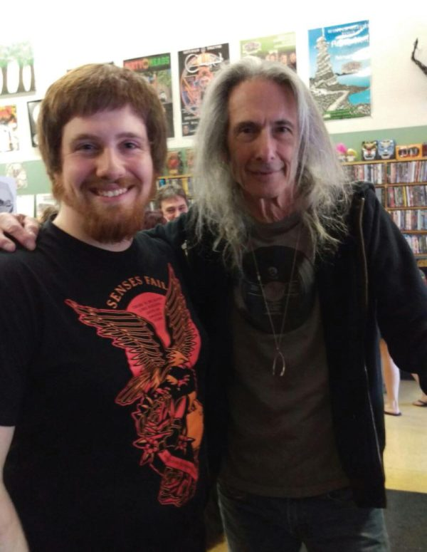 Musician Lenny Kaye with ESU sophomore Mick Tillson. Photo Courtesy / Mick Tillson