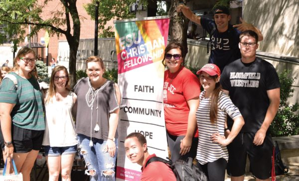 ESU's Christian Fellowship was among the many clubs with tables at the annual club fair. Photo Credit / Lance Soodeen