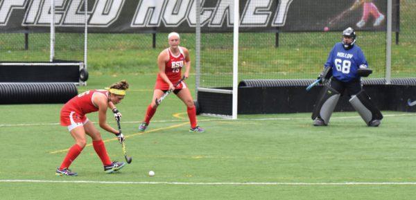 Freshman midfielder Grace Martini takes a shot on goal against Molloy last Sunday. Photo Credit / Ronald Hanaki