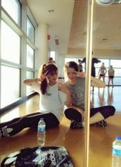 Right: Sunjung Park and Sojeong Bae at ESU's Matiolli Rec Center Photo Credit / Yunhui Cho