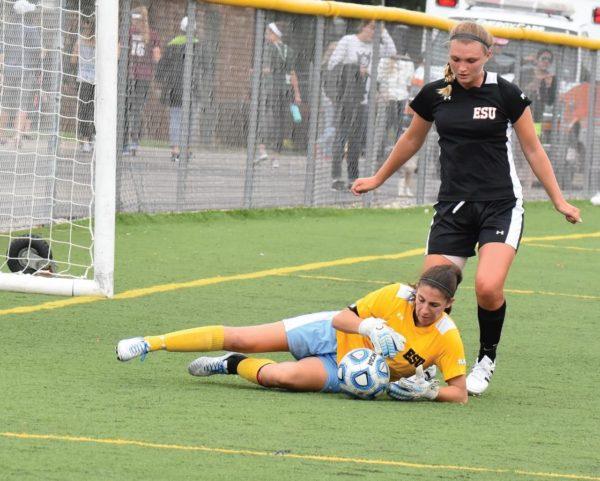 ESU goalkeeper Jules Harris makes a save to preserve the 1-0 win. Photo Credit / Ronald Hanaki