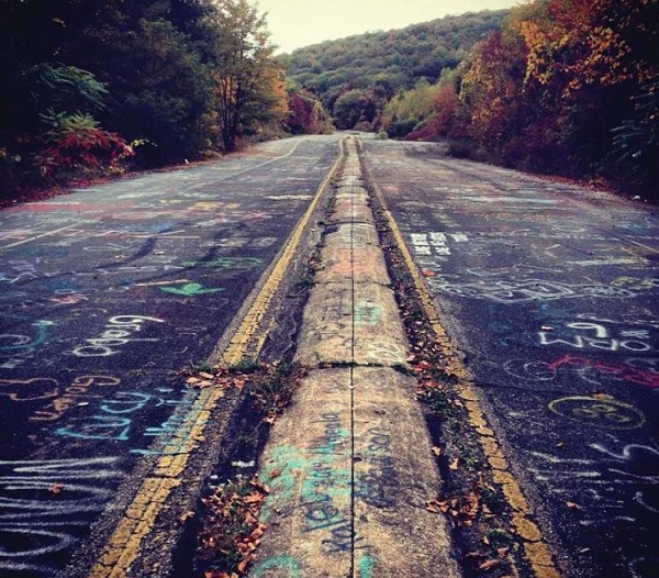 Take a walk down the abandoned highway in Centralia, Pa. Photo Credit / Lauren Shook