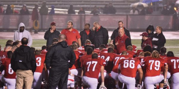 Coach Douds addresses his team after the win. Photo Credit / Ronald Hanaki