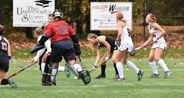 With Shippensburg's goalkeeper out, the Warriors attack the net. Photo Credit / Ronald Hanaki