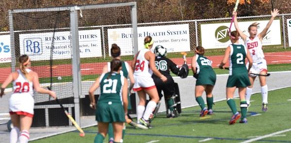#2 Karisa Turner reacts after scoring ESU's second goal. Photo Credit / Ronald Hanaki