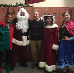 Rudolph, Santa, Chris Bello, Mrs. Clause, and Anna Photo Credit / Nia Scott