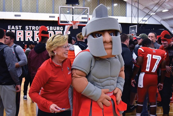 President Marcia Welsh and our new Warrior Mascot bonded during the reveal. Photo Credit / Lance Soodeen
