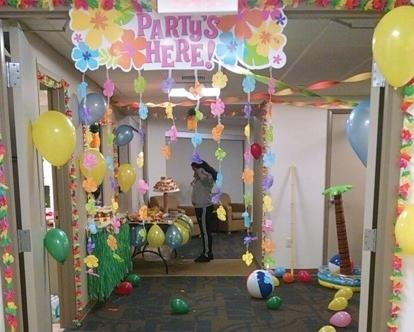 "Decorations in Hawthorn Hall for the ""Tropical Paradise"" Social. Photo Credit / Laura Jean Null"