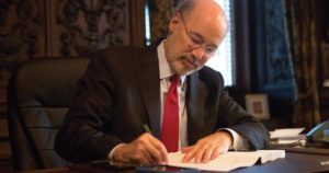 Gov. Tom Wolf in his office. Photo Courtesy / Tom Wolf-Flickr