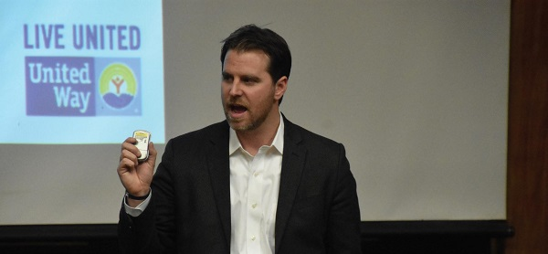 Michael Albert, CEO of the United Way of Monroe County, gave his presentation on Feb. 22. Photo Credit / Ronald Hanaki