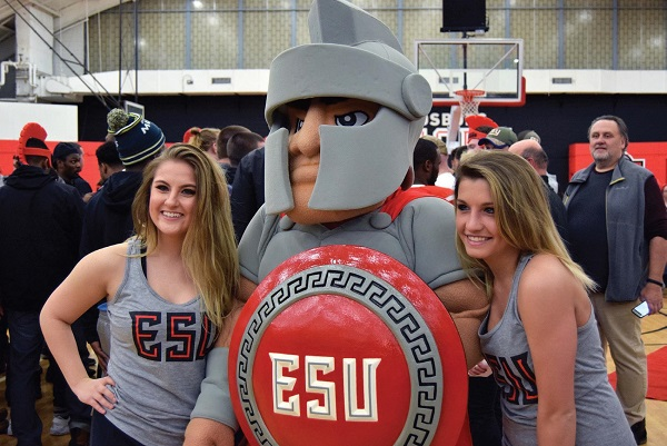 ESU's Xplosion Team poses for a photo with the mascot. Photo Credit / Lance Soodeen