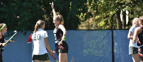 Photo Credit / Ronald Hanaki Sophomore midfielder Karly Conway celebrates after scoring a goal.