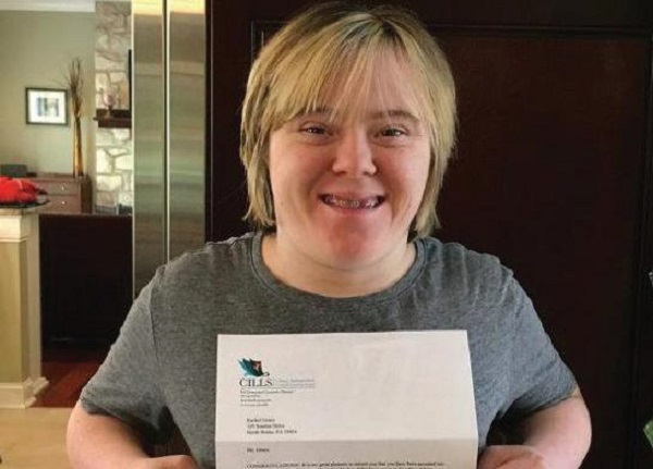 Photo Courtesy / ESU PR Rachel Grace showing off her acceptance letter into the CILLS Program.