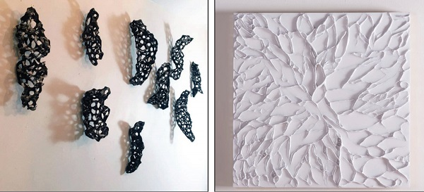 """Photo Courtesy / Madelon Powers Facebook Page According to ESU, Love describes """"Alluvial Plain"""" as internal and transient exploration of place. """"My process is an immediate response to juxtaposed materials, whether combining modeling paste and resin or porcelain and glass,"""" she said."""