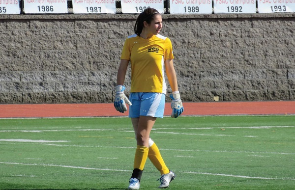 Photo Credit / Ronald Hanaki Senior goalkeeper Jules Harris was the 2016 PSAC Women's Soccer Defensive Athlete of the Year.