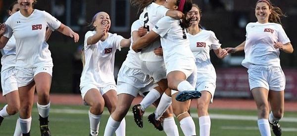 Photo Courtesy / Bob Shank ESU's Women's Soccer team celebrates the win.